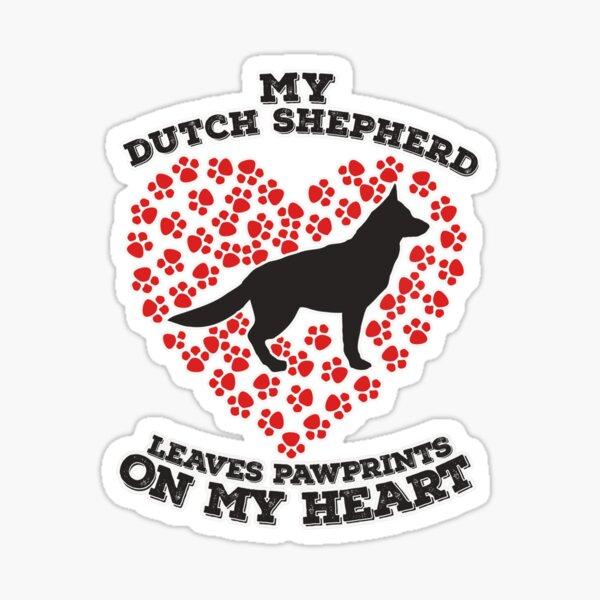 My Dutch Shepherd Leaves Pawprints on my Heart  Sticker