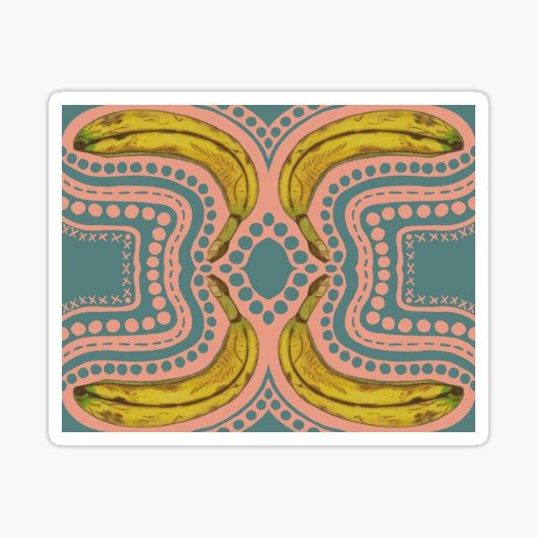 """Go Bananas!"" Pop Art Polka Dots Circles Pink Blue Yellow Surreal Damask Graphic Designer Print Sticker"