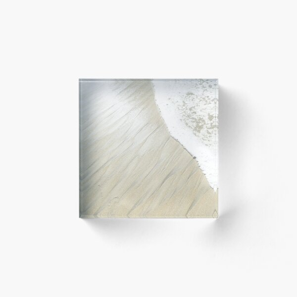 Abstract Sand with Foamy Waves at the Beach Acrylic Block