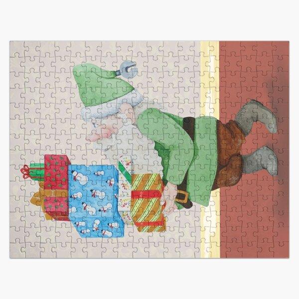 Green Christmas Elf Jigsaw Puzzle