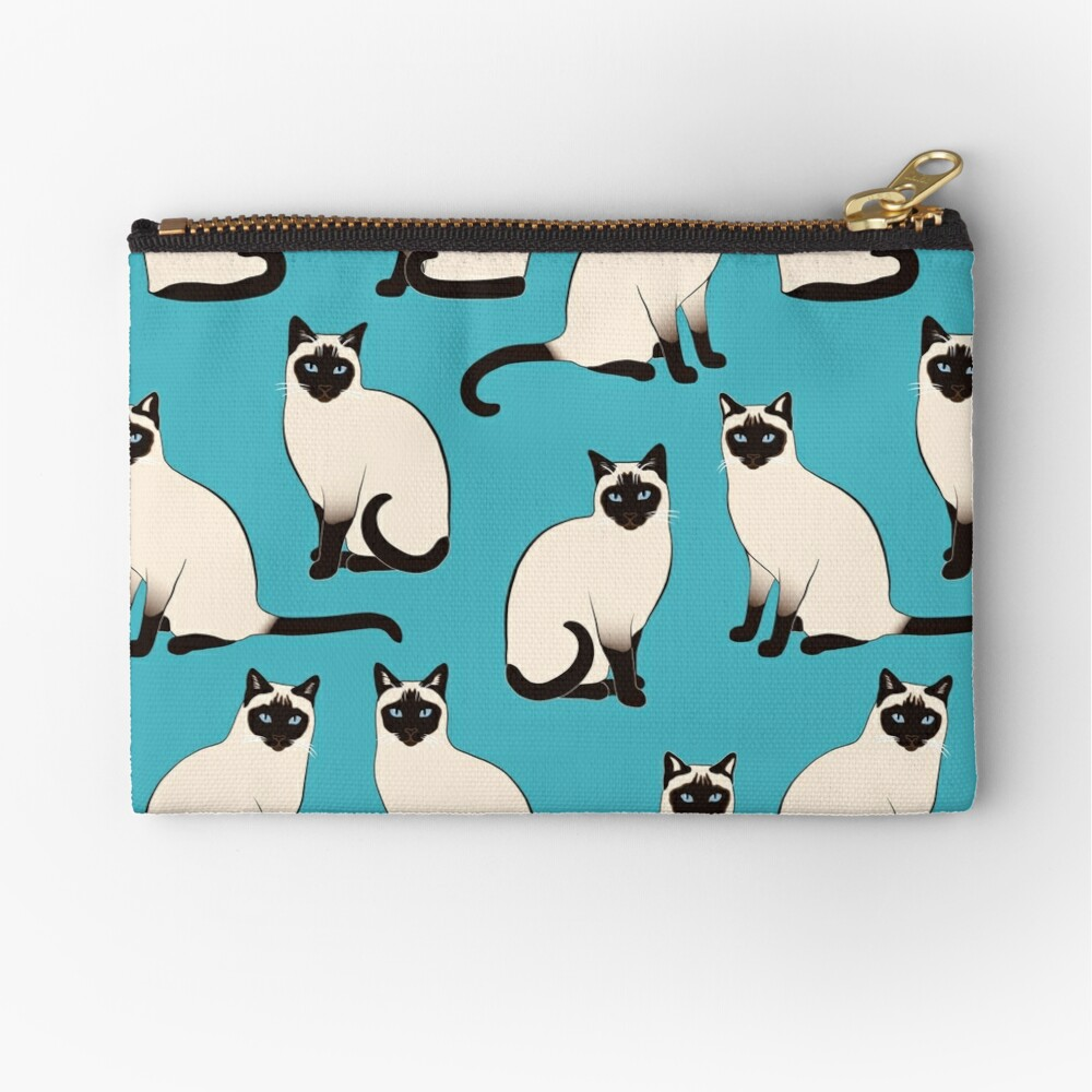Siamese Cats - sparse pattern Zipper Pouch