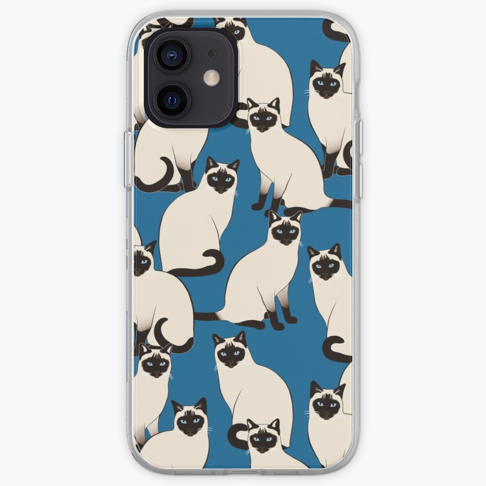 Siamese Cats on dark blue iPhone Case & Cover