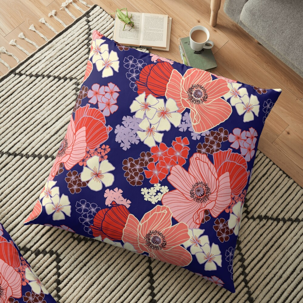Wild Poppies pattern Floor Pillow