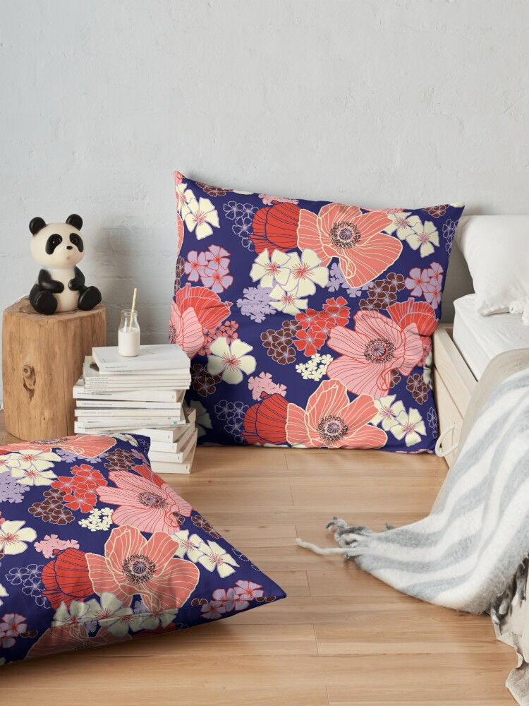 Alternate view of Wild Poppies pattern Floor Pillow