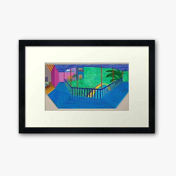 david hockney garden with blue terrace Framed Art Print
