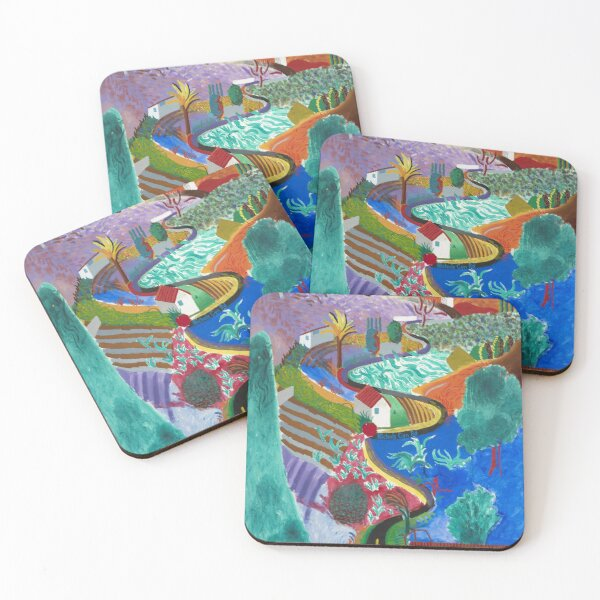 david hockney nichols canyon Coasters (Set of 4)