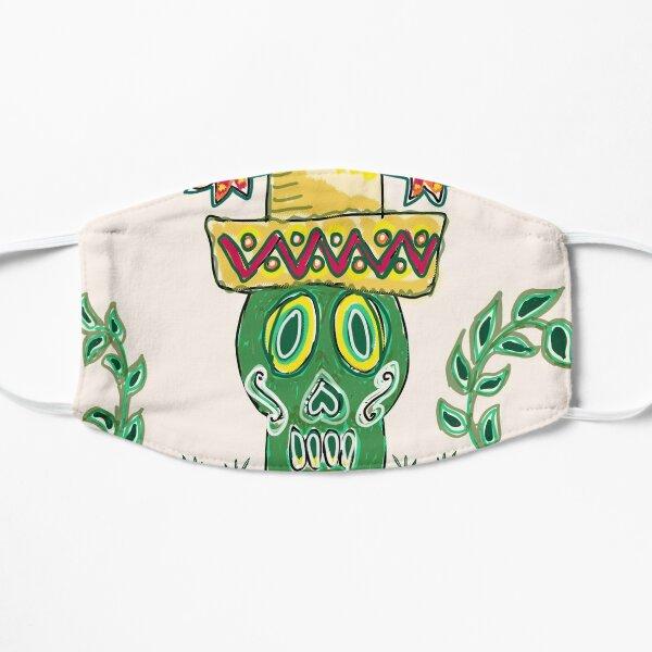 green skull sombrero feliz navidad Flat Mask