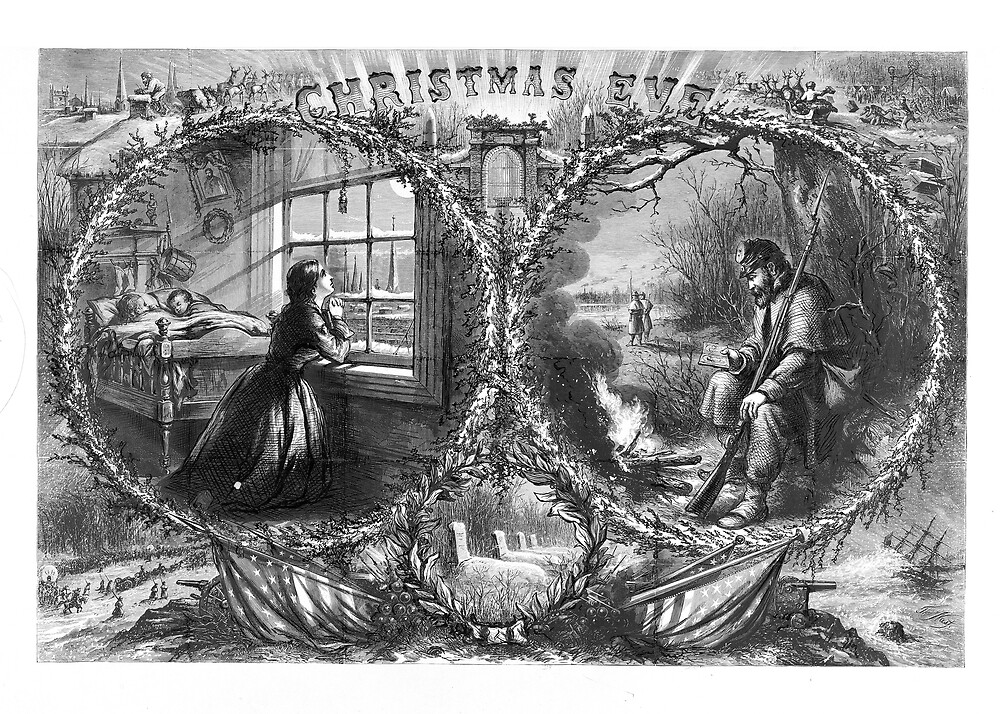 """Vintage Civil War Christmas Eve Etching (published """"Harper's Weekly,"""" January 3, 1863) by Douglas E.  Welch"""