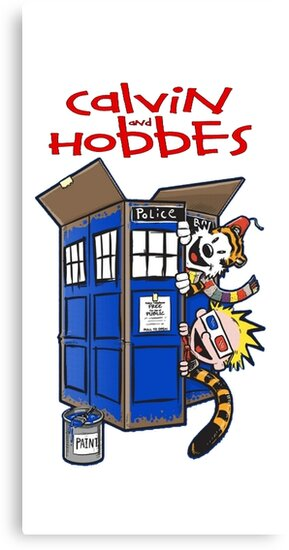calvin and hobbes police box  by quickart