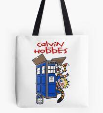 calvin and hobbes police box  Tote Bag