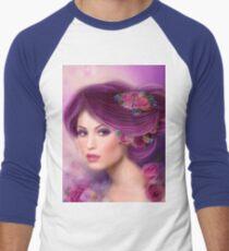 Fantasy woman with purple flowers Men's Baseball ¾ T-Shirt