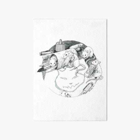 Les souris III (Les artistes et le chat) Impression rigide