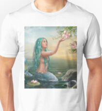 Mermaid in the Sunset with Green Hair & Lilies Unisex T-Shirt