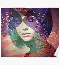 Abstract Retro Butterfly Woman Original Art Poster