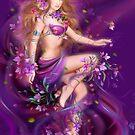 Fantasy Woman and purple flowers by Alena Lazareva