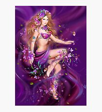 Fantasy Woman and purple flowers Photographic Print
