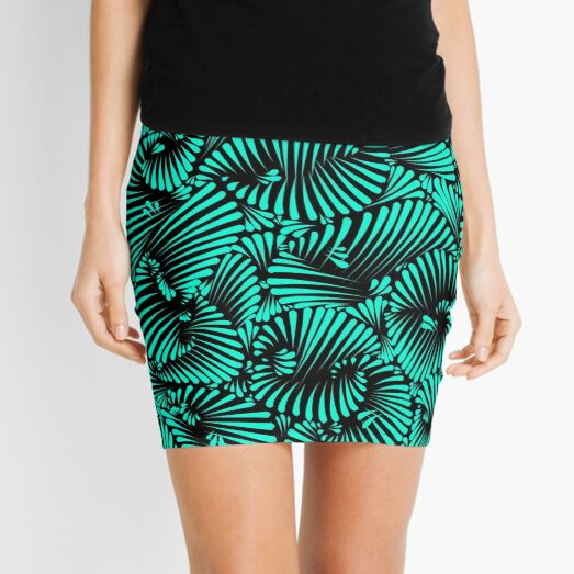 Neon Teal Palm Party Mini Skirt