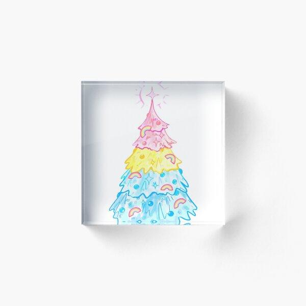 Pansexual Tree Pan Pride Christmas Holiday  Acrylic Block
