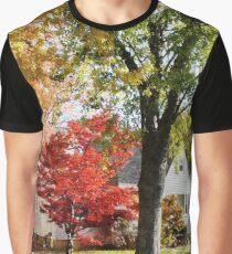 Autumn Street With Red Tree Graphic T-Shirt