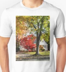 Autumn Street With Red Tree T-Shirt