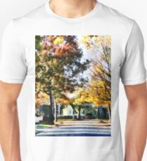 Autumn Street with Yellow House T-Shirt