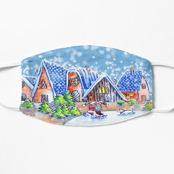 Little Skaters in the Snow at Christmas time Flat Mask