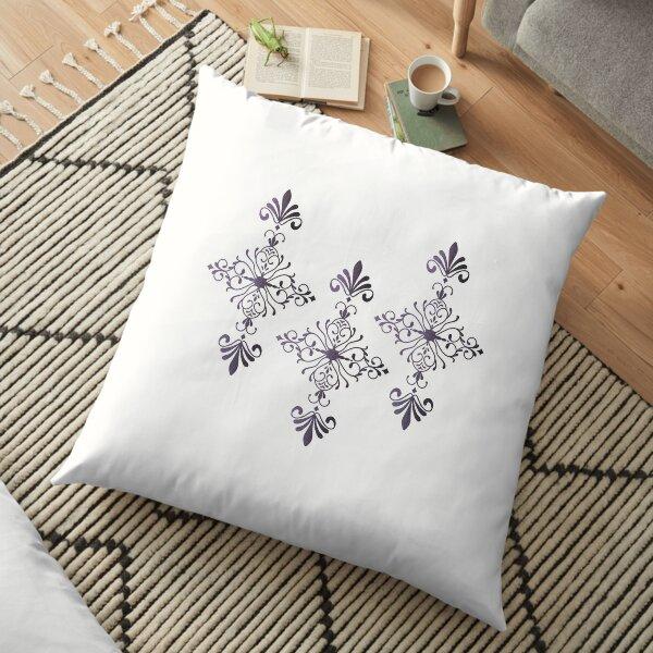 Purple Velvet Motif Floor Pillow