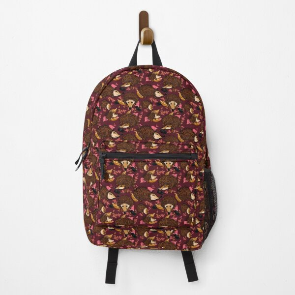 Hedgehog Antics In Burgundy Backpack