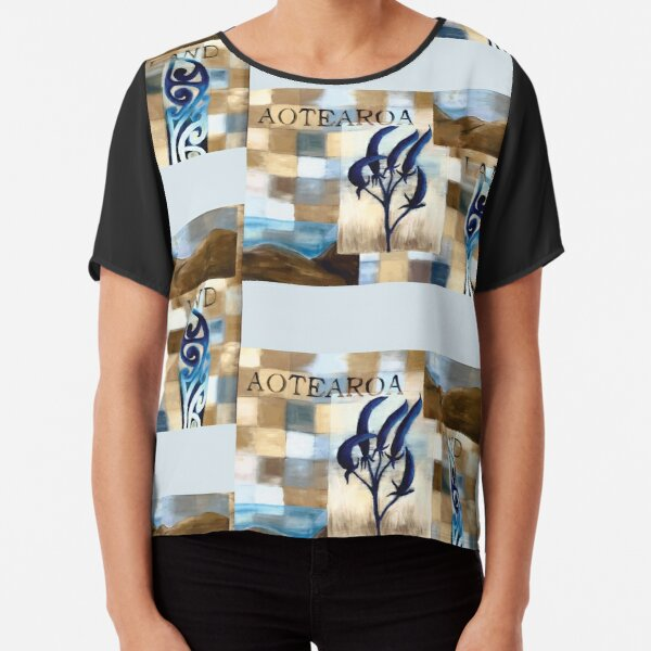 Abstract Landscape with Blue Flax Flower Floral quote Aotearoa Land Chiffon Top