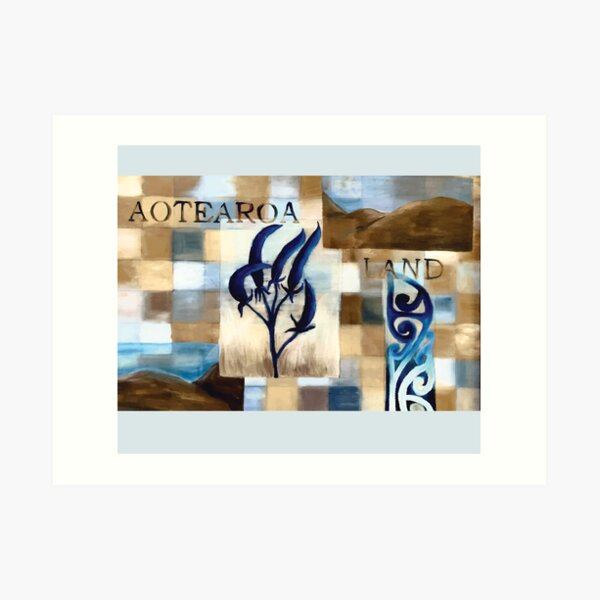 Abstract Landscape with Blue Flax Flower Floral quote Aotearoa Land Art Print