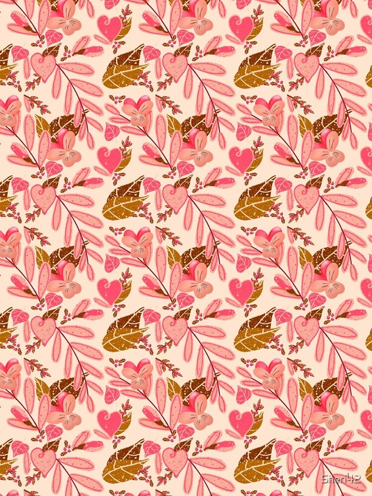 Bright Florals in Pink and Brown with ivory Background by Sheri42