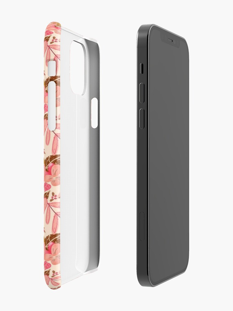Alternate view of Bright Florals in Pink and Brown with ivory Background iPhone Case & Cover