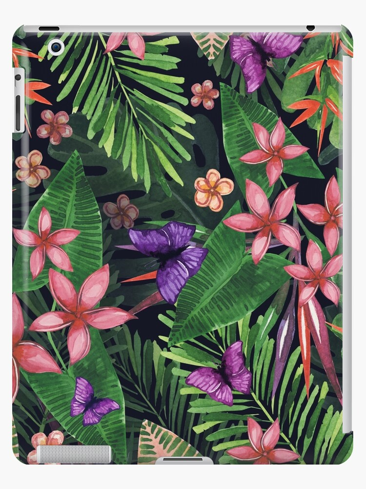 Tropical Flowers Pattern Of Exotic Flower And Plants Realistic