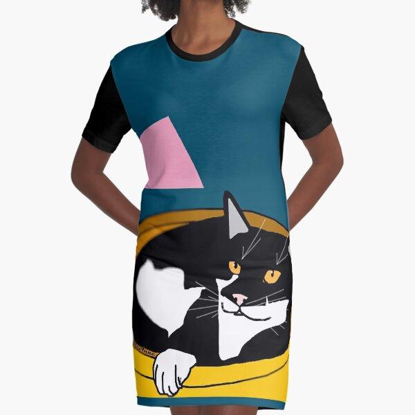 Cute Tuxedo Cat laying in a fruit bowl. Graphic T-Shirt Dress