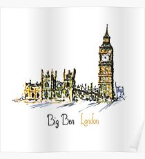 Watercolor Clock tower Big Ben Palace Poster
