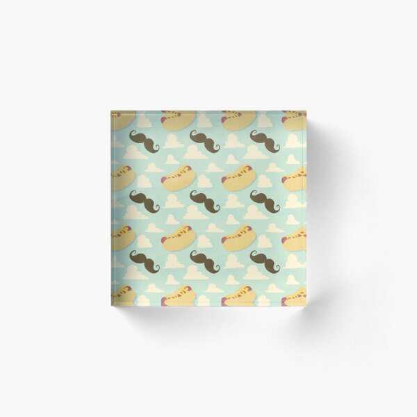 Mustaches & Mustard Hot Dogs Acrylic Block
