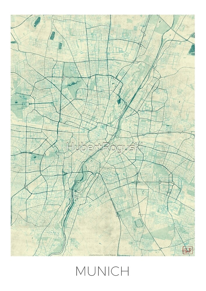 Munich Map Blue Vintage by HubertRoguski