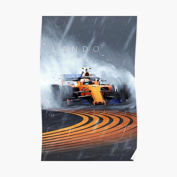Lando Norris fórmula uno F1 Mclaren carrera húmeda Póster