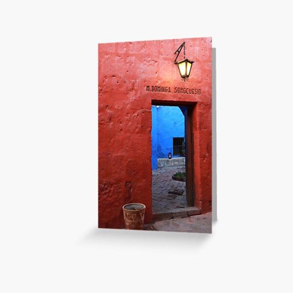 Red wall, Peru Greeting Card