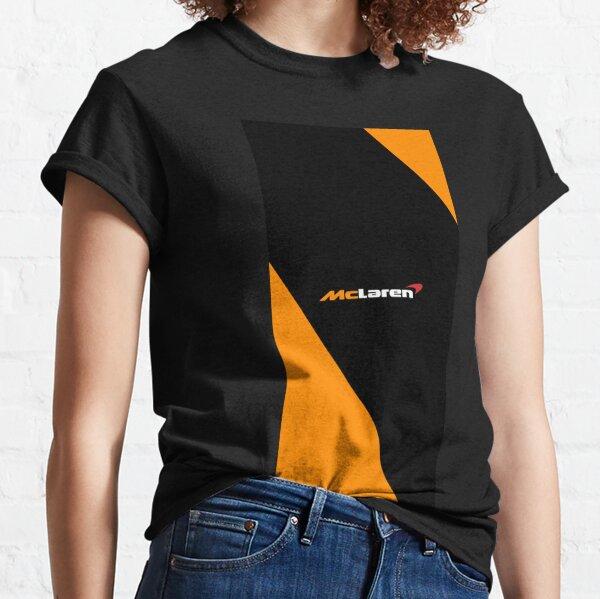 Mclaren formula uno F1 logo diseño negro y naranja Camiseta clásica