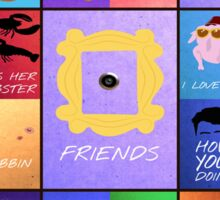 Friends TV Series Sitcom Catchy Quotes Minimal Collage Artwork Sticker