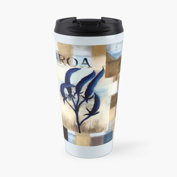 Abstract Landscape with Blue Flax Flower Floral quote Aotearoa Land Travel Mug