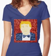 sequin donald trump Women's Fitted V-Neck T-Shirt
