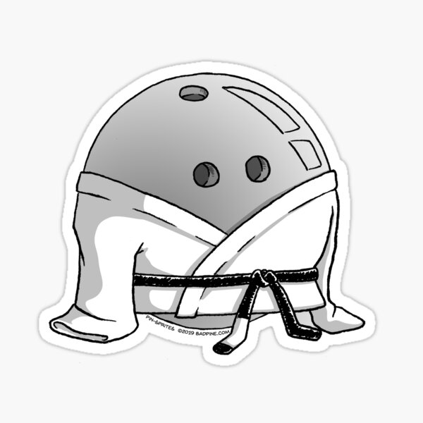 Pin-Sprites - Bowling Ball in a Gi - Black and White/ No-Face Sticker