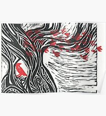 Wisdom of Trees - Red Raven Poster