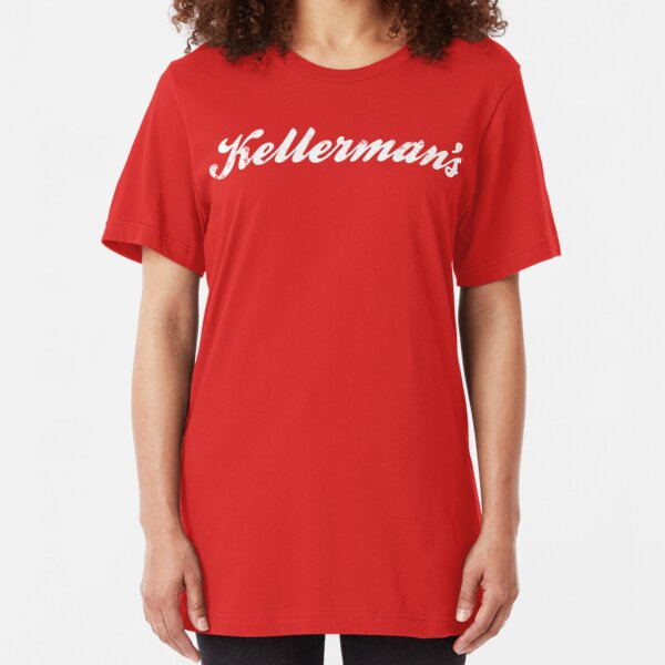 KELLERMANS Ladies Fitted White T-Shirt with Burgundy Print NEW ALL SIZES