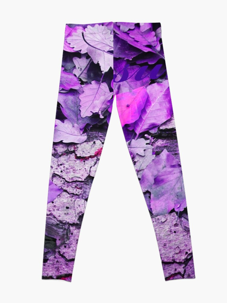 Alternate view of Leaves and bark in purple - the little beauties of nature Leggings