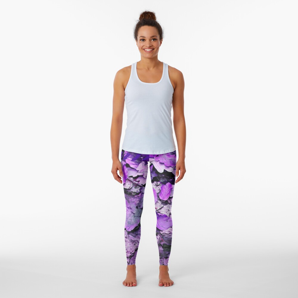 Leaves and bark in purple - the little beauties of nature Leggings