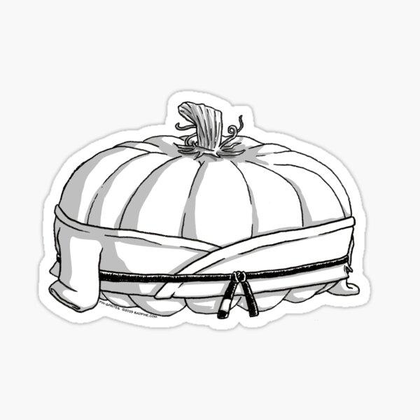 Pin-Sprites - Pumpkin in a Gi - Black and White/ No-Face Sticker