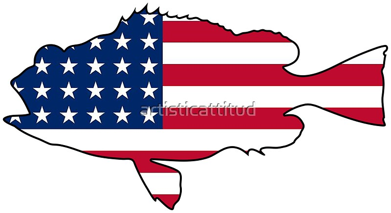 American flag bass fish stickers by artisticattitud for American flag fish